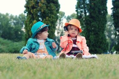 Children dressed up in field