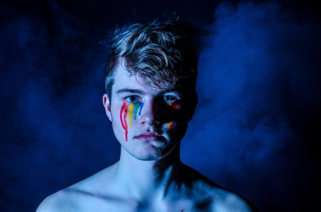 boy crying rainbow