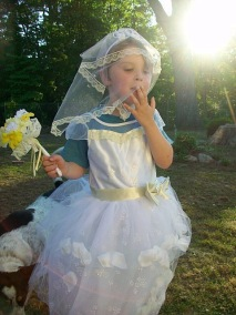 Charlie in a favorite princess-bridal costume, 2009